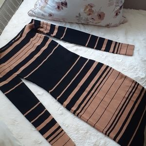Midi Bodycon Tan and Black Dress FN